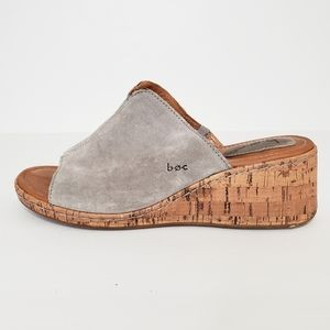 B.O.C Catia Grey Suede Wedge Sandal Size 9